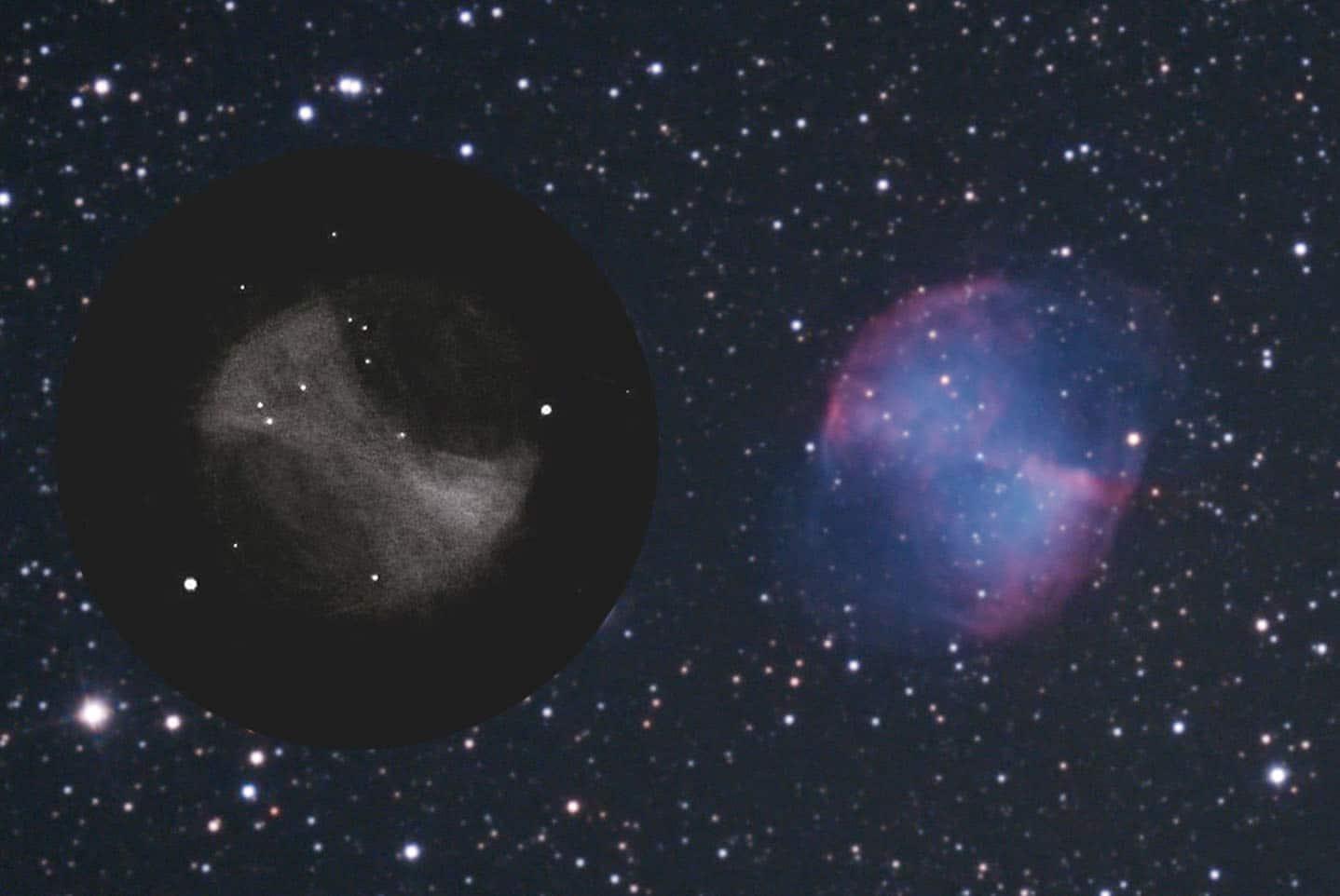 M27 dibujo y astrofoto