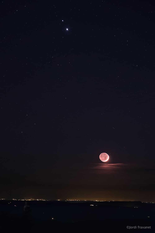 Conjunción de Júpiter y Saturno con compañia de la luna el 16/12/20