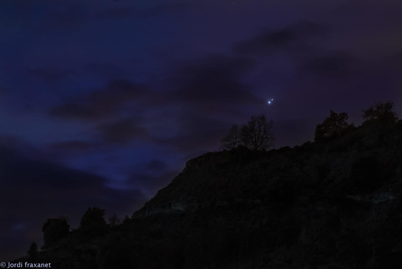 Conjunción Júpiter y Saturno, detalle del 21/12/20