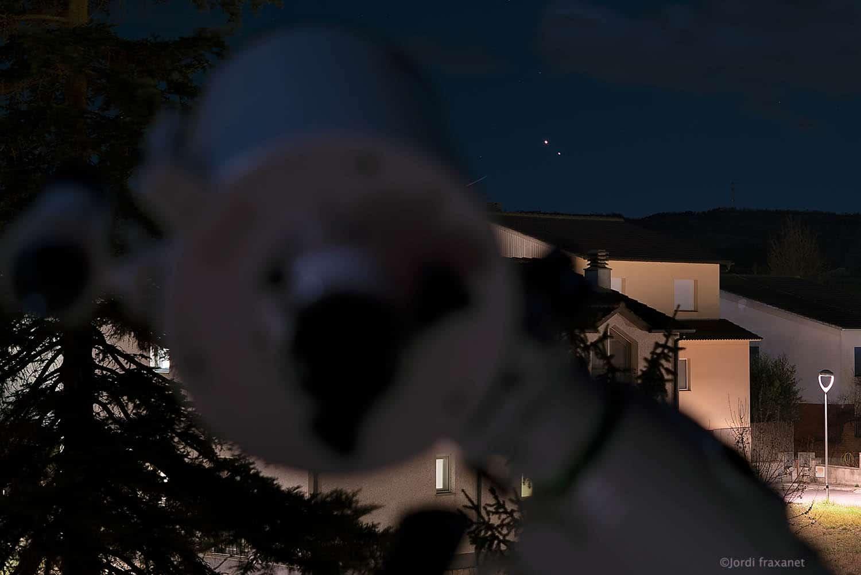 Conjunción Júpiter y Saturno tras el telescopio el 25/12/20
