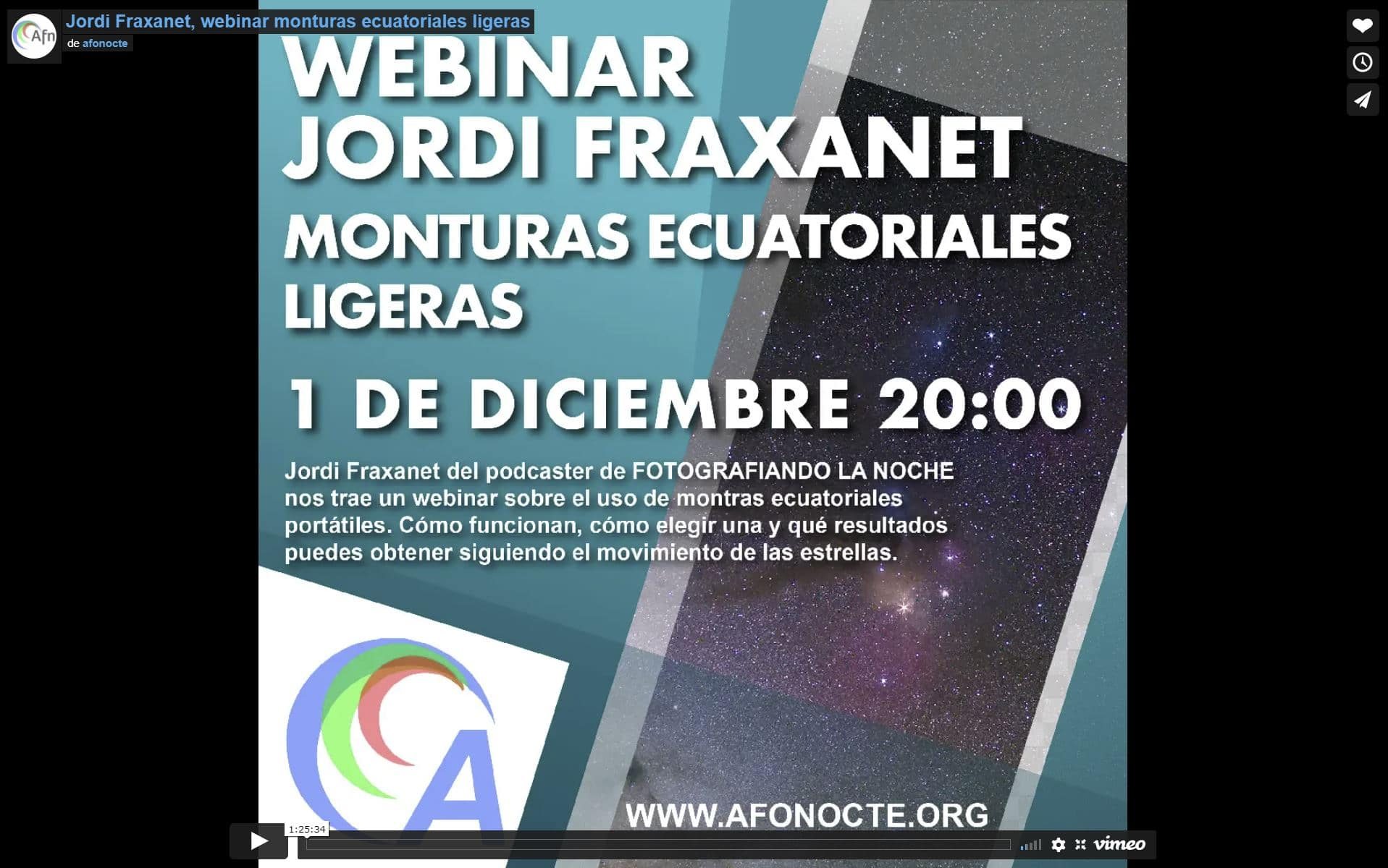 Webinar sobre monturas ecuatoriales portables para Afonocte